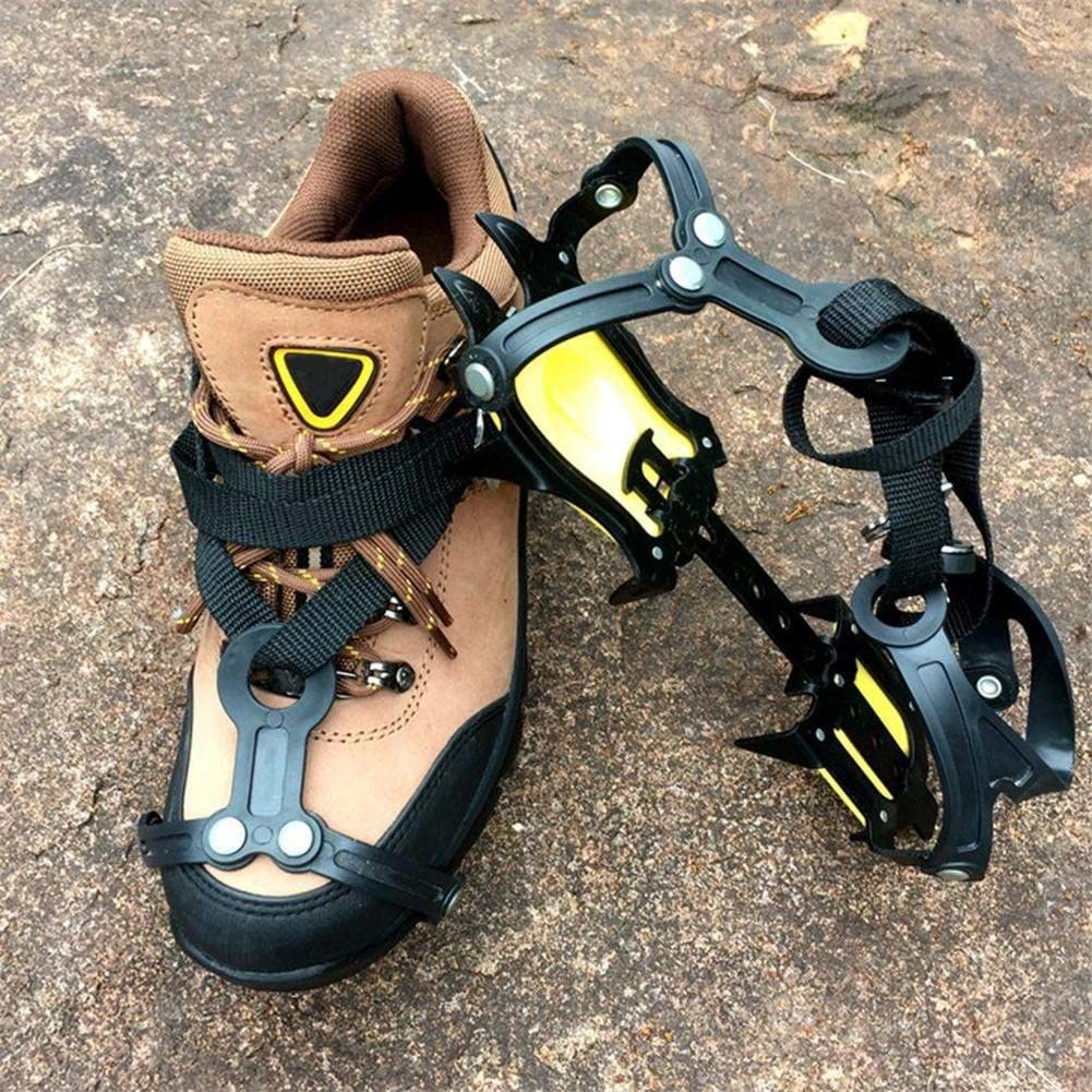 Baisde Ice Crampons 10 Denti Artigli Trazione Regolabile Trapunta Pattini Antiscivolo Copertura per Neve da Sci allaperto Escursionismo Arrampicata