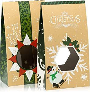 Cookie Bags For Gift Giving - Set of 12 Christmas Treat Boxes - Food Bags For Gifts - 2 Unique Decorative Treat Bags - Easy Assemble Cookie Containers - Premium Candy Boxes Packaging