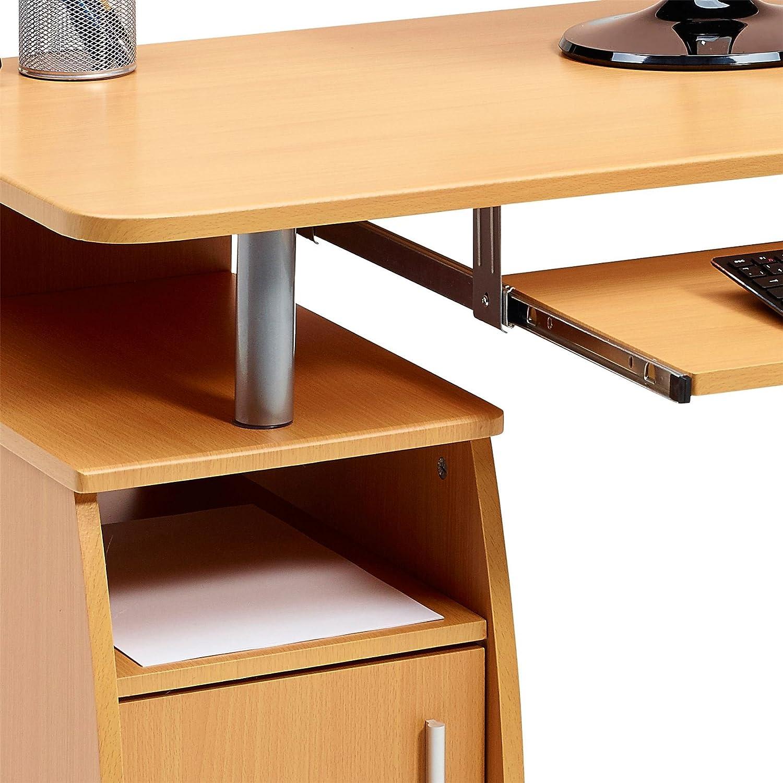 Armario para la Oficina en Casa Efecto Madera Haya PC 1b Piranha Trading Escritorio Mesa de Ordenador Despacho con Estantes