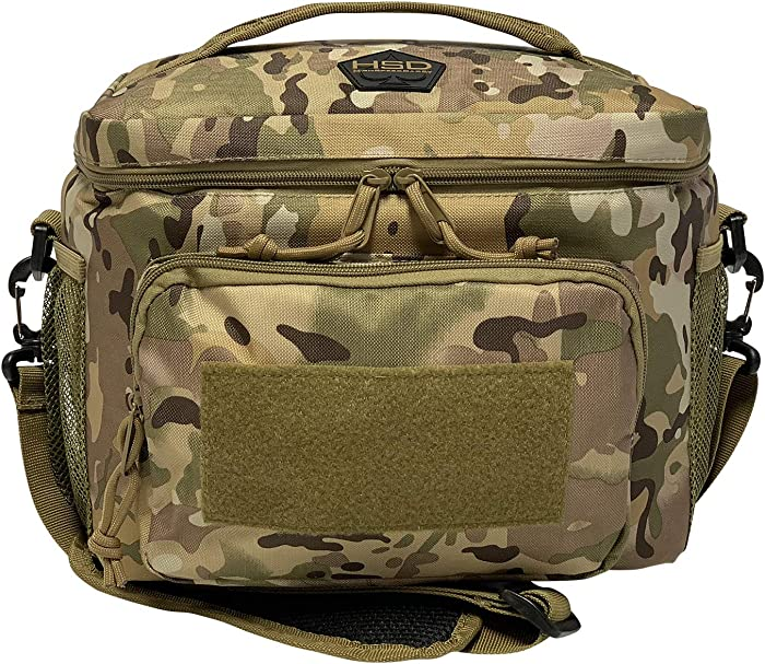 HSD Lunch Bag, Insulated Cooler, Large Thermal Lunch Box Tote with MOLLE / PALS Webbing, Adjustable Padded Shoulder Strap, for Tactical Men Women Adults (Multicam)