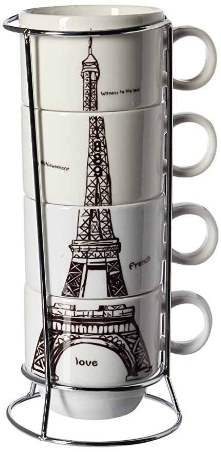 4 Steel Chic Eiffel Expresso Stainless Frameset Of 6910 Mug Paris Coffee With Stacking Porcelain Uniware Tower sCQhxtrd