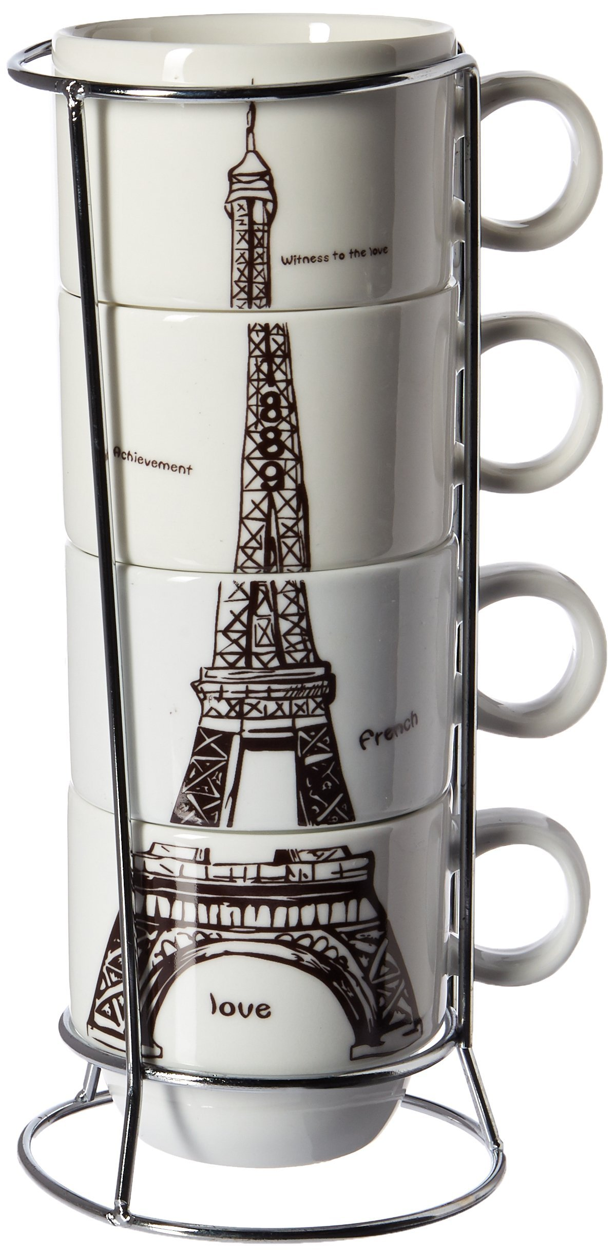 6910 Uniware Chic Eiffel Tower Paris Stacking Porcelain Expresso Coffee Mug with Stainless Steel Frame (Set of 4)
