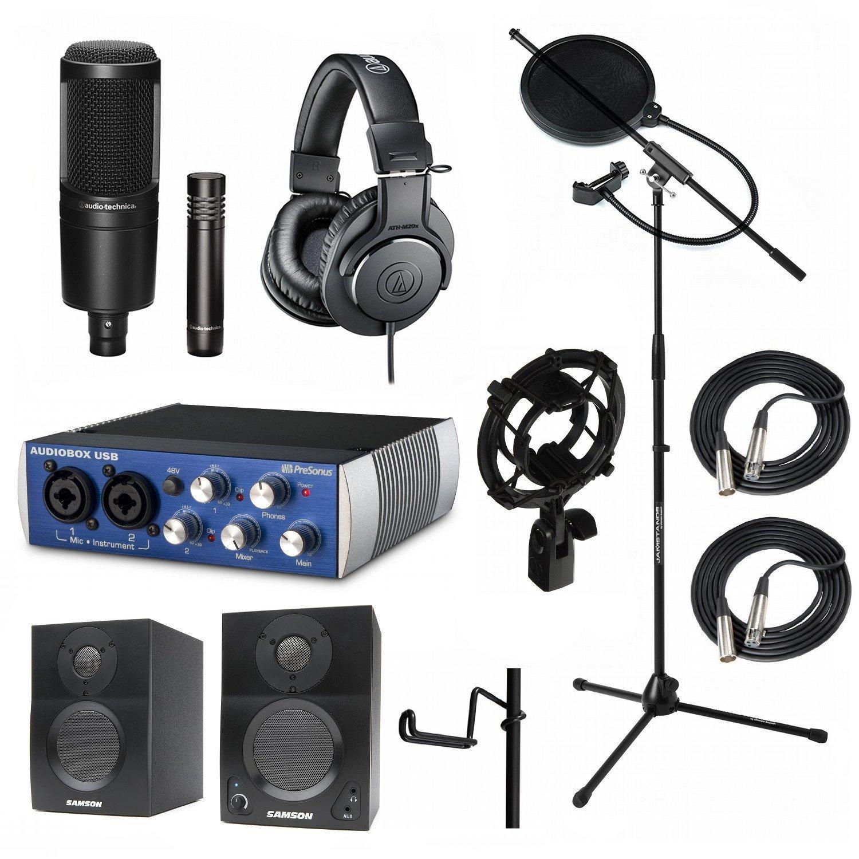 Home Recording Studio Bundle Audio Technica AT2041SP ATH-M20x AT8458 Stand Presonus AudioBox USB Samson Media ONE BT3 Speakers by Audio-Technica
