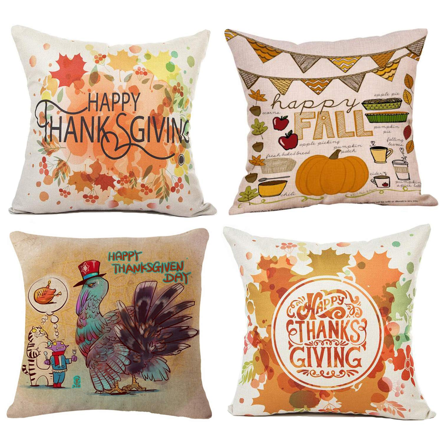Wonder4 Happy Thanksgiving Day Fall Decor Pumpkin Decorative Pillow Covers Cotton Linen Home Decor Design Thanksgiving Happy Turkey Day Farmer Harvest Pumpkins Autumn Leaves 18x18 Inch Set of 4