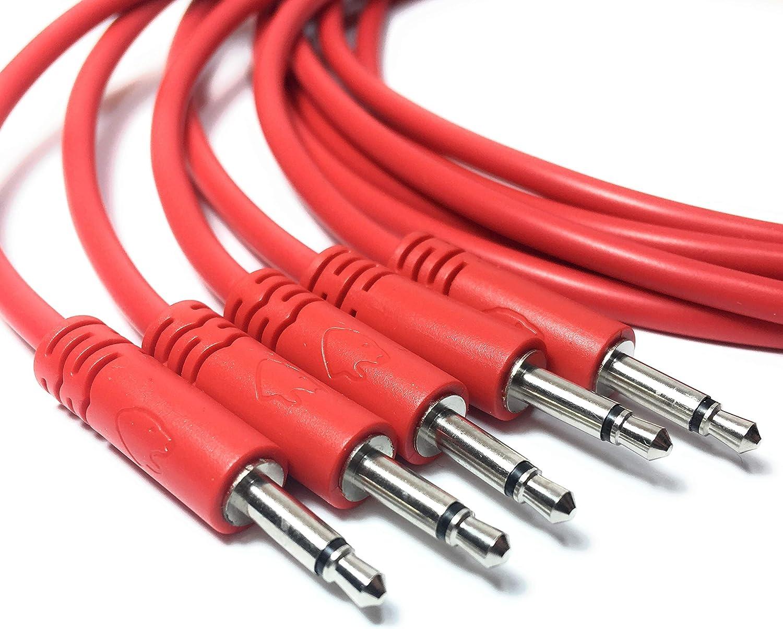 5cm, Rot Set aus 5 mono Patchkabeln 3,5mm f/ür modulare Synthesizer Eurorack Patchkabel 10 Farben // 7 L/ängen optionen