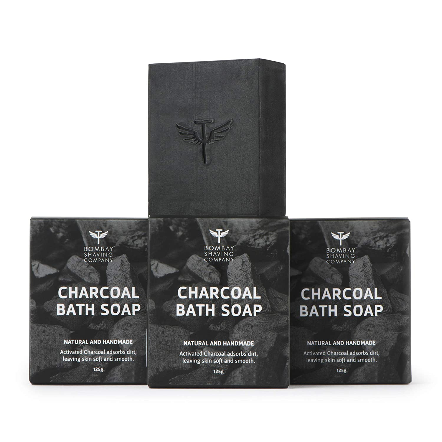 Bombay Shaving Company Activated Bamboo Charcoal Bath Soap for Deep Clean and Anti-pollution Effect, 125g (Pack of 3)