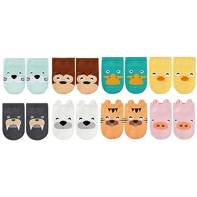 LUXEHOME (YR1604) Anti-Slip Grip Soles Cozy Cartoon Baby Socks,8 Pairs per Pack