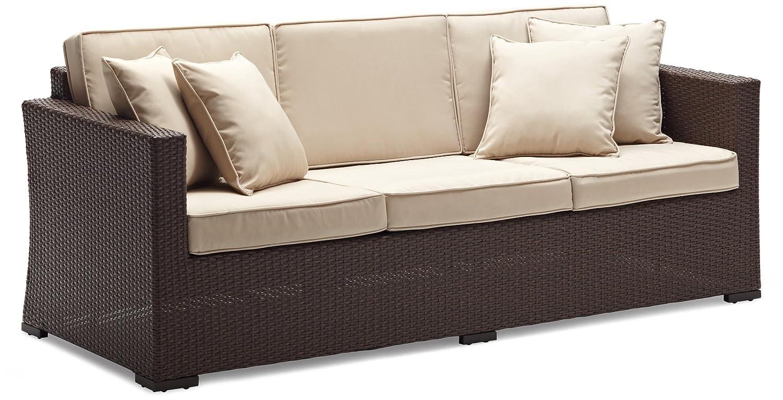 Amazon.com: Strathwood Griffen All Weather Wicker 3 Seater Sofa, Dark  Brown: Garden U0026 Outdoor