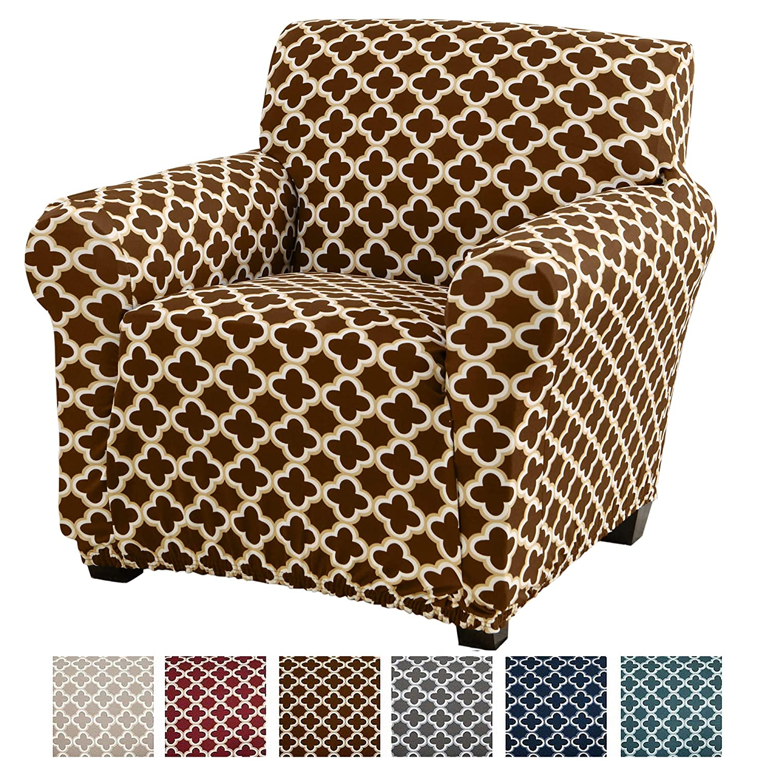 Home Fashion Designs Printed Stretch Arm Chair Furniture Cover Slipcover Brenna Collection, Chocolate