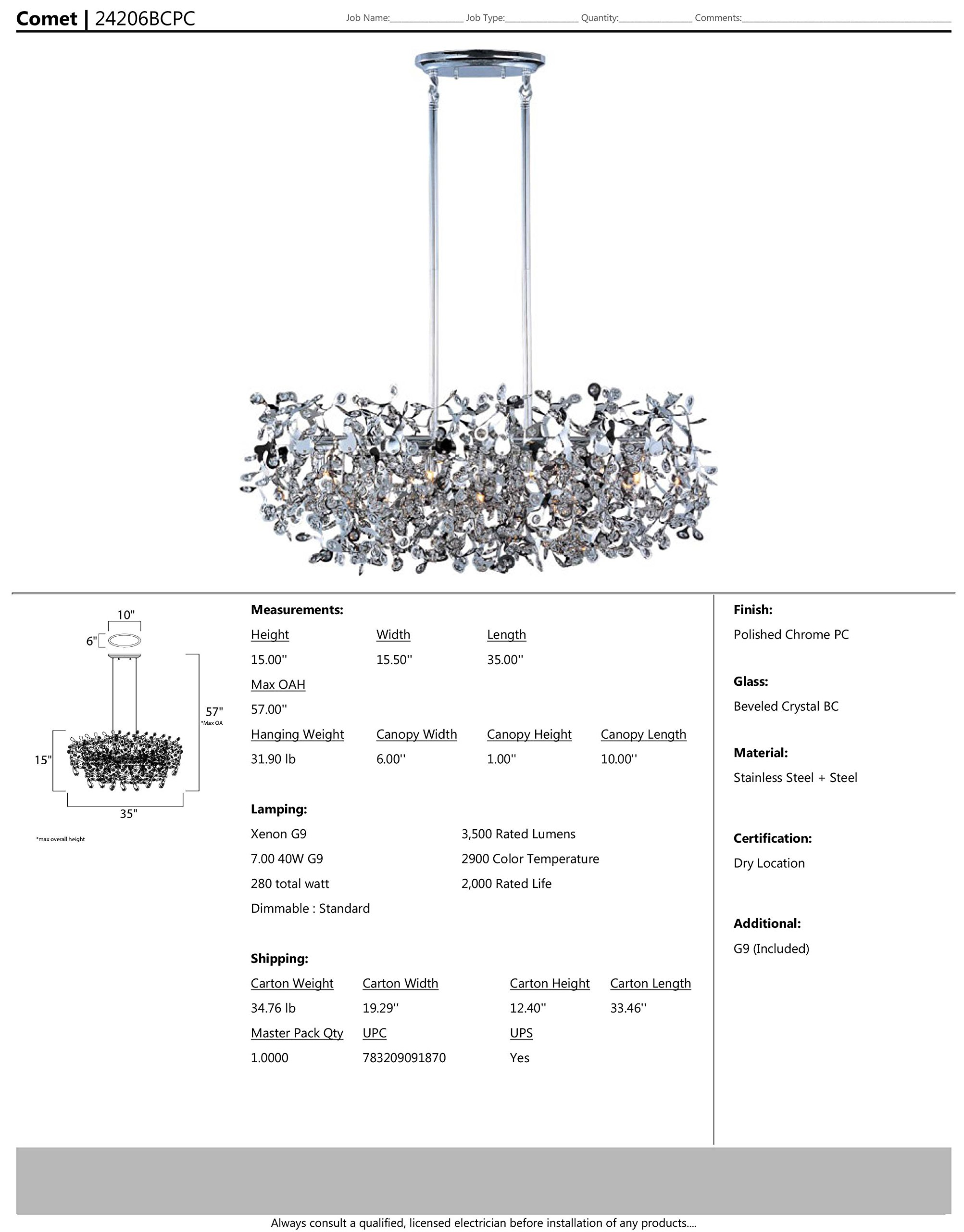 Maxim 24206BCPC Comet 7-Light Pendant, Polished Chrome Finish, Beveled Crystal Glass, G9 Xenon Xenon Bulb , 100W Max., Wet Safety Rating, Standard Dimmable, Glass Shade Material, 1150 Rated Lumens by Maxim Lighting (Image #4)