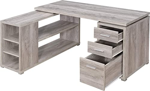 Coaster Home Furnishings Yvette L-Shape Grey Driftwood Office Desk