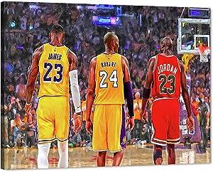 MJ Jordan Kobe Bryant Lebron James Canvas Wall Art, Legend Basketball Star Michael Kobe Lebron Canvas Print Artwork for Room Decor, Home Bedroom Wall Decor, Men Boys Gift Framed Artwork (18W x24H)