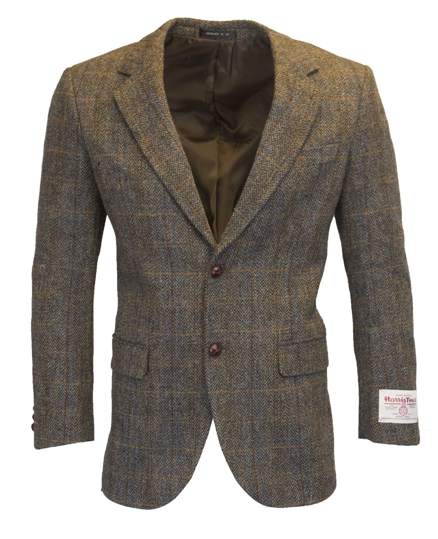 Walker and Hawkes Mens Classic Scottish Harris Tweed Herringbone Overcheck Country Blazer Jacket - Clinton Brown - 48 by Walker and Hawkes