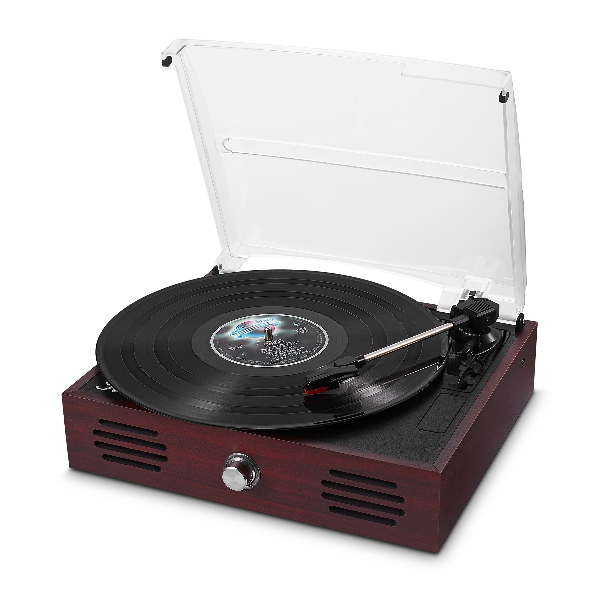 Belt-Drive 3 Speed Retro Turntable Portable Wooden Suitcase LP Vinyl Record Player with Built-in Stereo Speakers