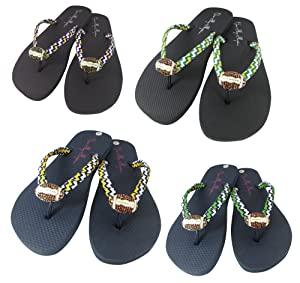 Chevron Rhinestone Bling Football Flip Flops Ladies Black Navy, Ribbon Color Red Royal Gold Purple Green
