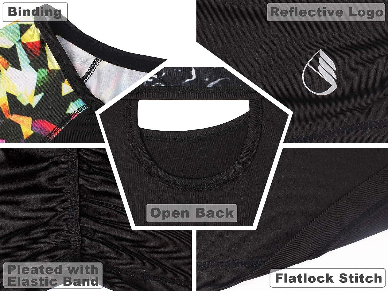 icyzone Camiseta de Fitness Deportiva de Manga Corta de Espalda Abierta para Mujer