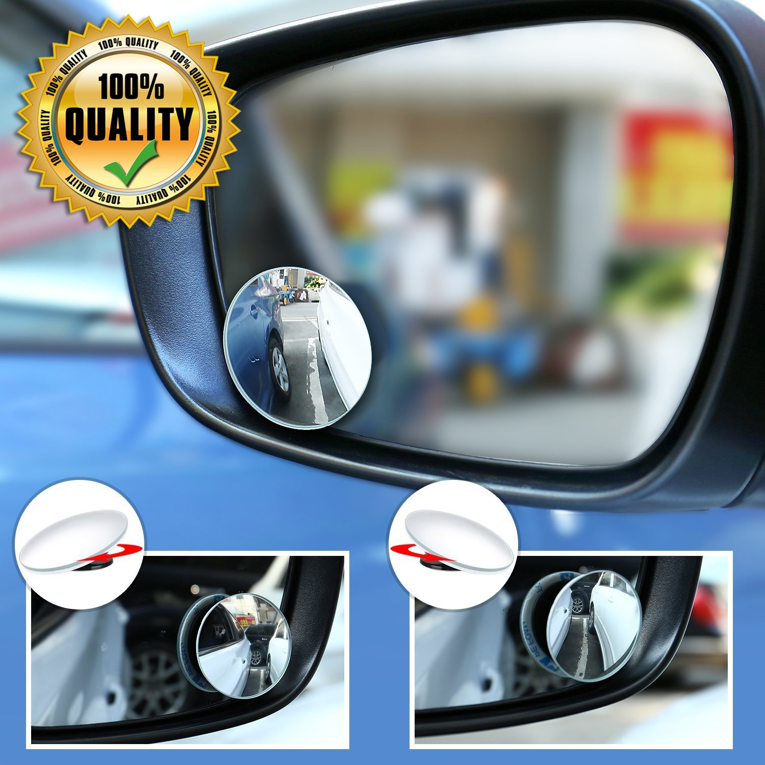 Blind Spot Mirror Car Convex Rearview Mirror, Amison 360 Degree Adjustable Reversing Wide Angle Frameless HD Glass Car Rear View Mirror for SUV Motorcycle Stick-on rearview mirror, 2 Pack Round