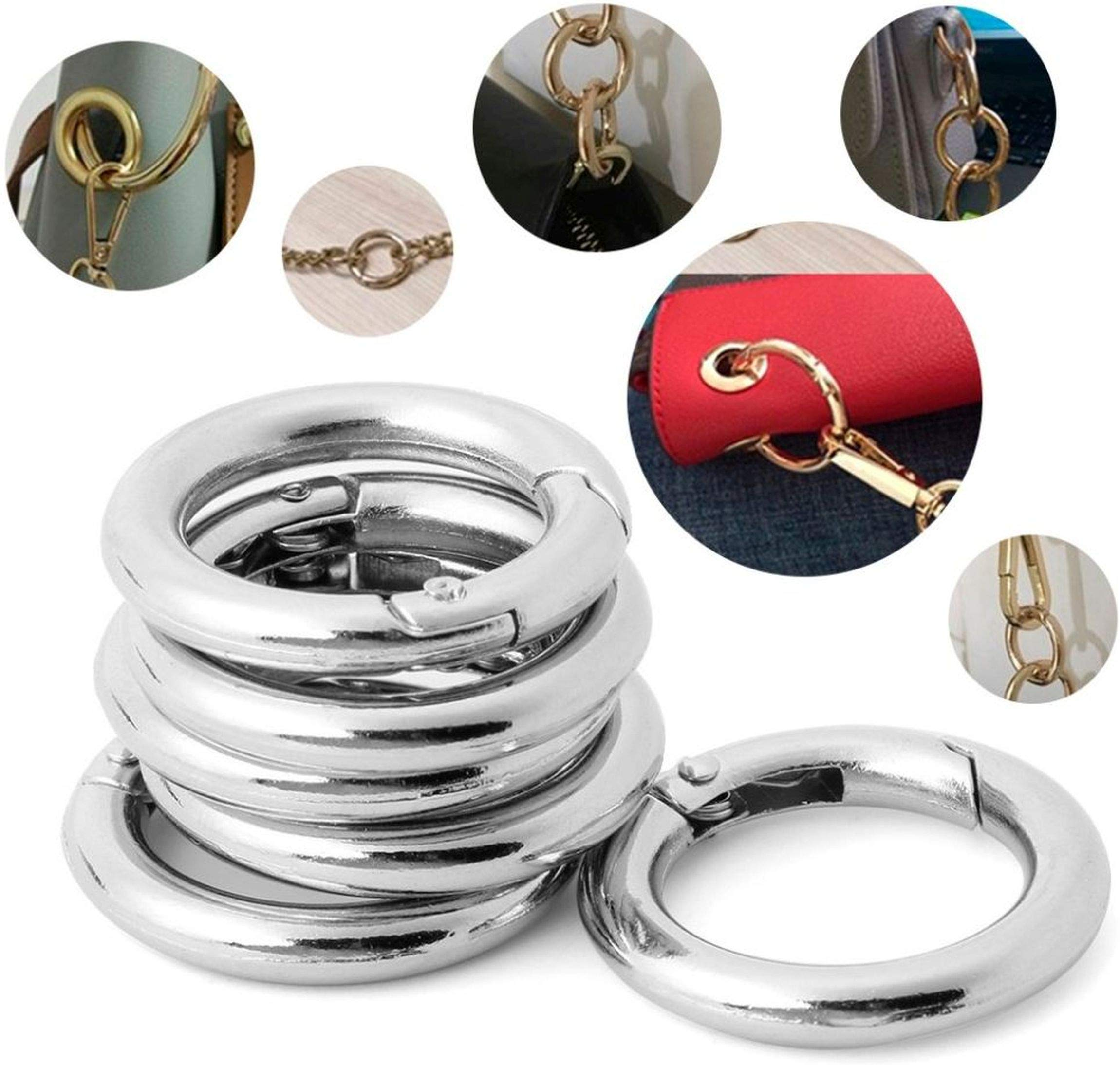 F Fityle 6Pcs Round Carabiner O Spring Loaded Gate Clips Hook Key ring Buckle 25mm Color Choice