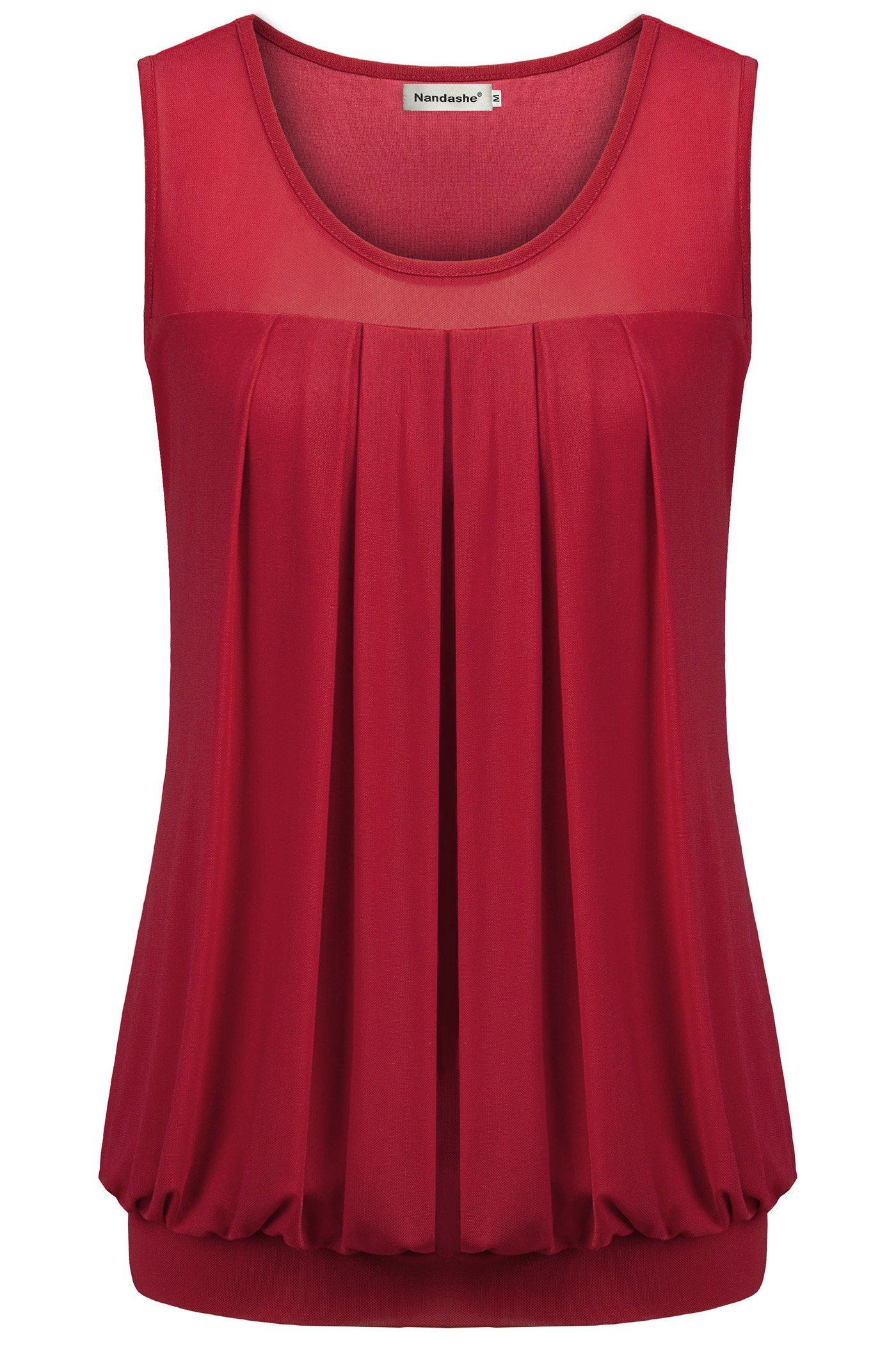 Nandashe Chiffon Blouses Women, Teen Big Girls Plus Size Crewl Neck Layered Knitting Comfortable Casual Active Dress Tshirt Date Wear Sports Undershirts XXL
