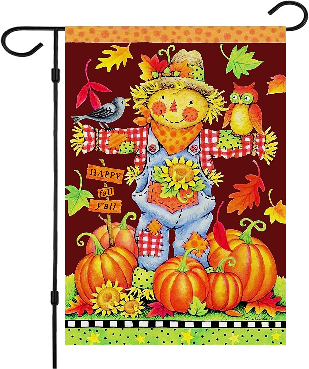 Happy Fall Garden Flags,Double Sided Autumn Flag Scarecrow Harvest Pumpkin Yard Decorations Fall House Flags 12 x 18 Inch Small Fall Yall Garden Flags