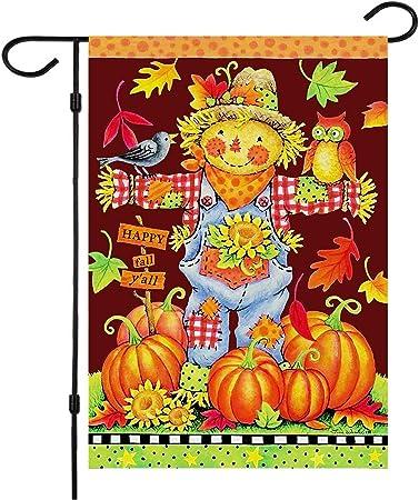 "18/""x12/"" Happy fall Halloween Pumpkin Garden Flag Yard Banner Outdoor Decor"