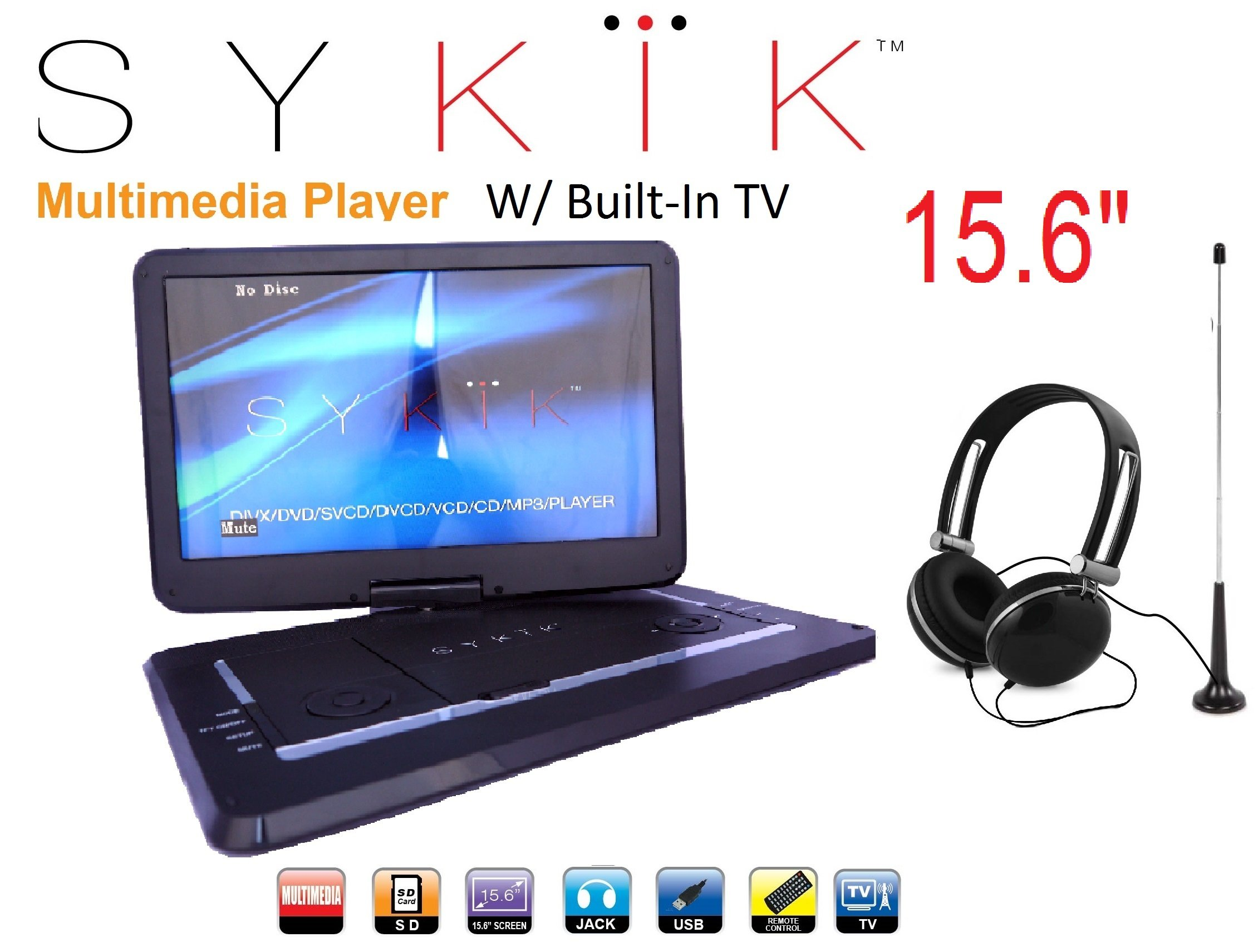 15.6'' Inch TV /portable DVD All Multi Region all zones HD Swivel Portable DVD Player SYDVD9113TV by Sykik