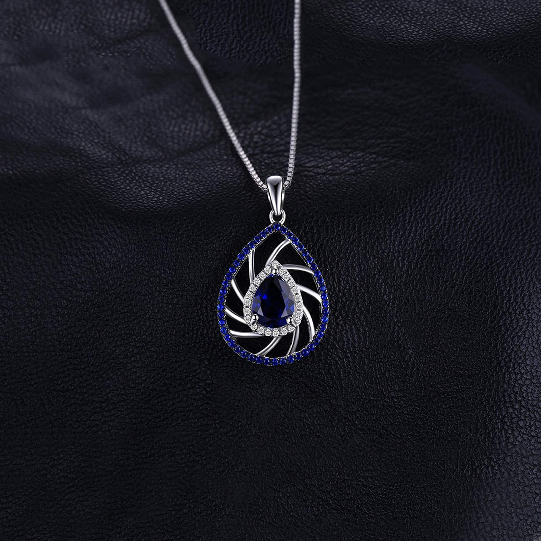 MMC Womens Stylish Gem 1.9ct Pear Shape Sapphire /& Blue Spinel Silver Pendants Necklaces