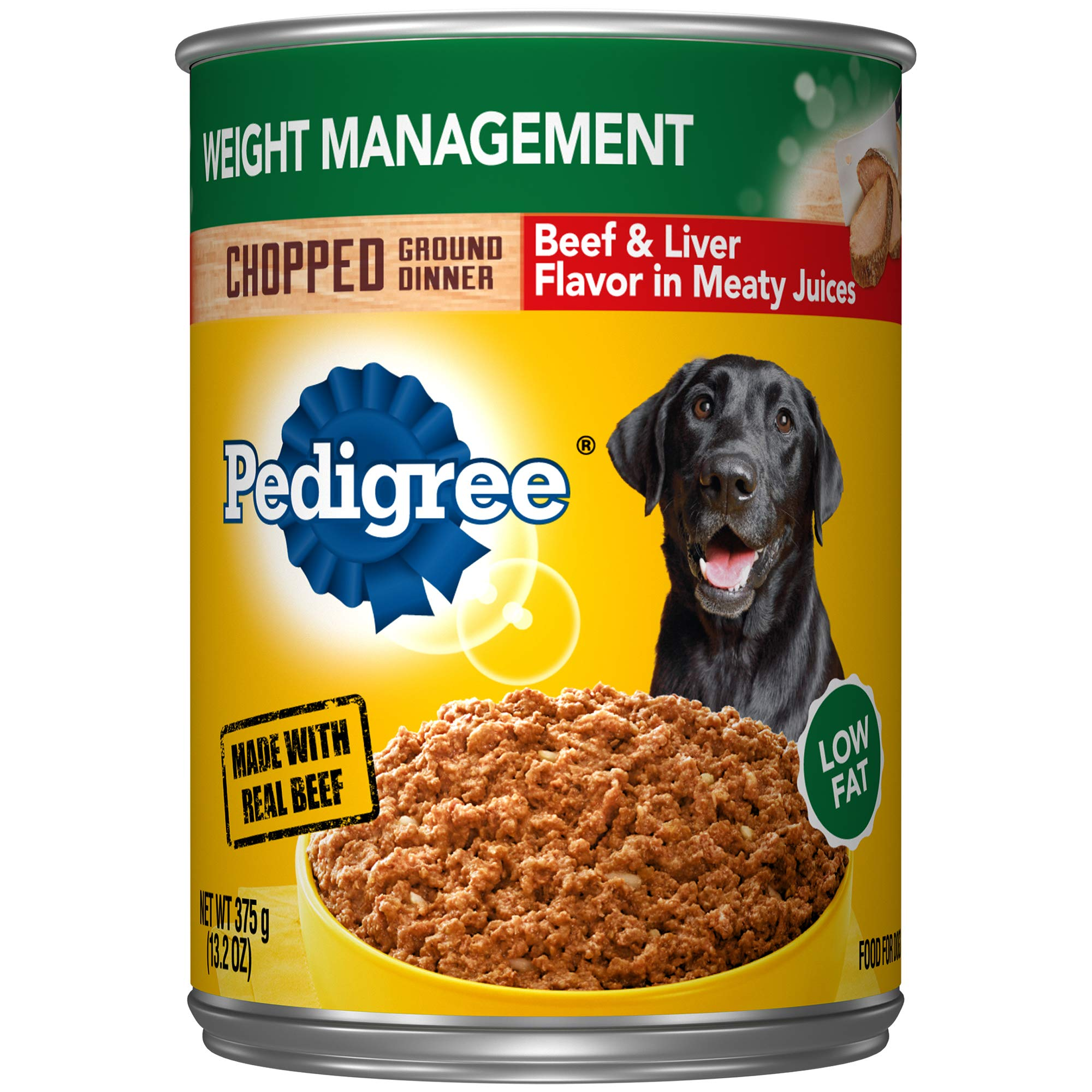 PEDIGREE Chopped Ground Dinner Weight Management With Beef & Liver Wet Dog Food 13.2 oz. (Pack of 12)