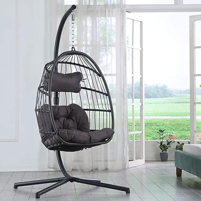Brafab Swing Egg Chair Hammock Chair Hanging Chair Aluminum Frame And Uv Resistant Cushion With Steel Stand Indoor Outdoor Patio Porch Lounge Bedroom Hand Made Wicker Rattan Chair 350lbs Capacity Kitchen