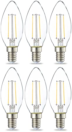 AmazonBasics Bombilla LED E14 con Filamento, 2W (equivalente a 25W), Blanco Cálido