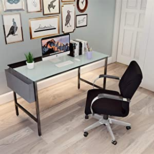 Glass Modern Desk, 47.2 x 23.6 inch Working Desk for Home, Study Writing Workstation, Laptop Table, Storage Bag and Iron Hook Included, Frosted Glass