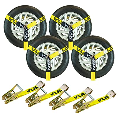 VULCAN Lasso Style Auto Tie Down with Flat Hooks - 2 Inch x 96 Inch, 4 Pack - Classic Yellow - 3,300 Pound Safe Working Load: Automotive
