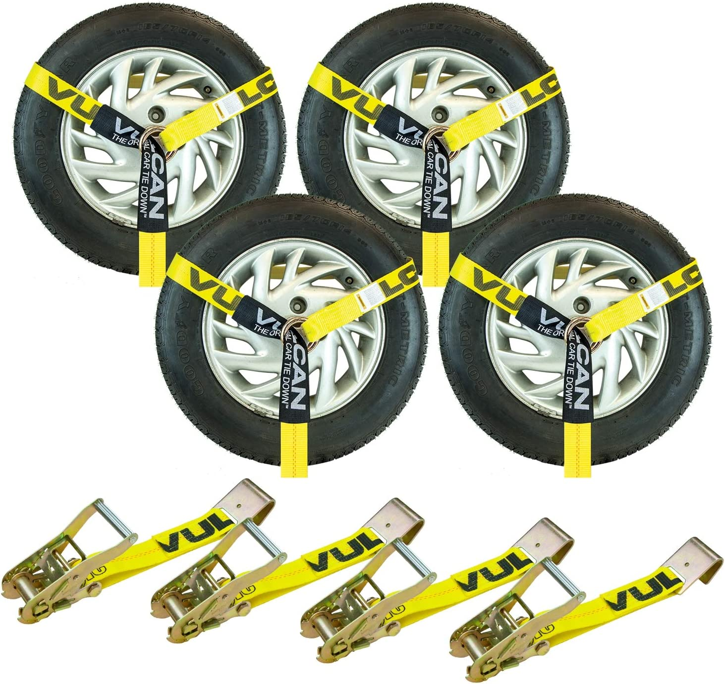 Mytee Products 4 Pack 2 x10 Lasso Ratchet Strap Flat Hook Wheel Net Auto Tow Towing Tie Down