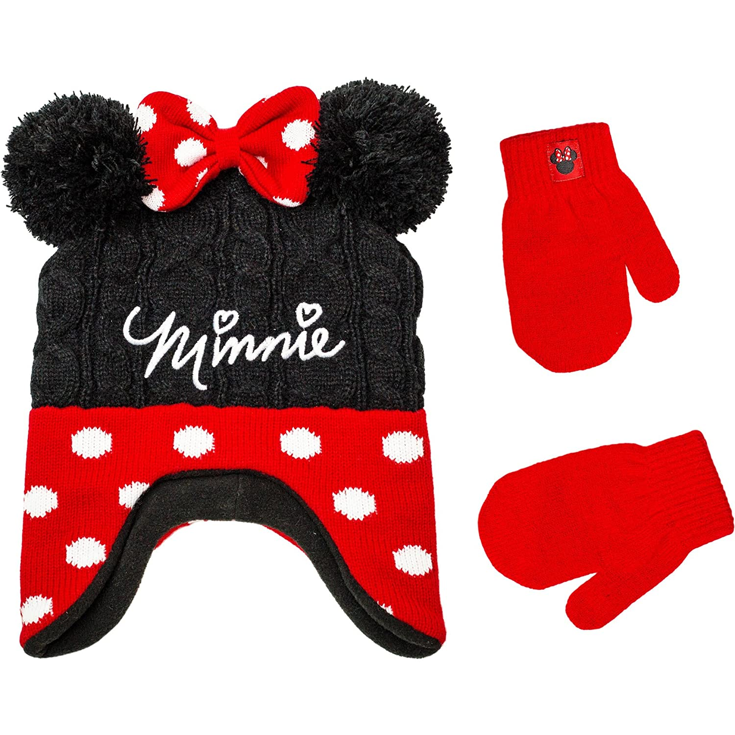 Girls Minnie Hat and Mittens for Toddlers Size 2T-5 Polka Dot Winter Knit Hat Cold Weather