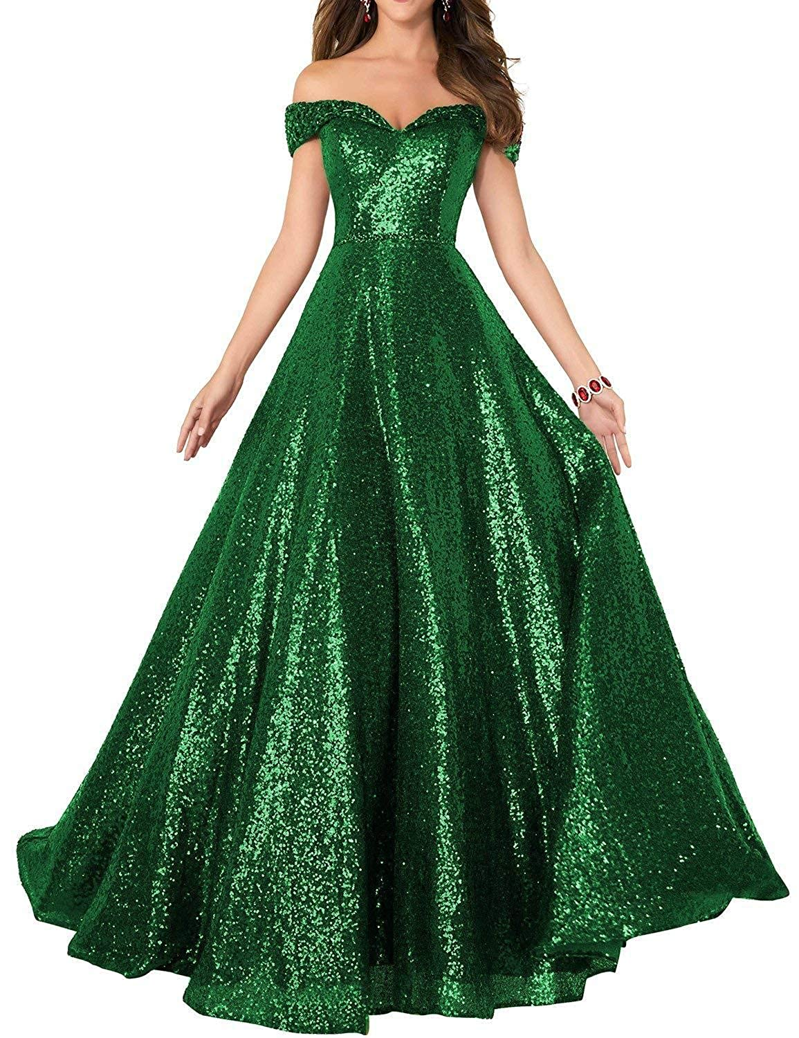 Green Vimans Womens Long Sequined Prom Dresses 2018 Off Shoulder Evening Gown P199