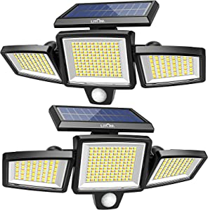 304 LED Solar Lights Outdoor, LITOM Super Bright 3 Head Security Lights with Motion Sensor 4 Modes& 2 Color Temperature IP67 Waterproof Solar Wall Lights 360° Adjustable 2 Pack