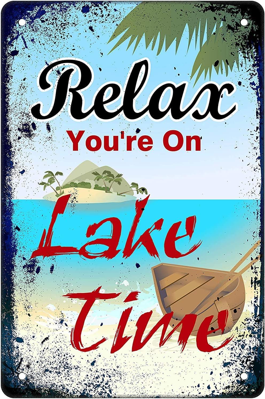 Art Decor Muatoo Tin Sign ES Relax You're On Lake Time Metal Wall Sign Decor for Nautical Lake Home 20x30cm Vintage Metal tin Sign