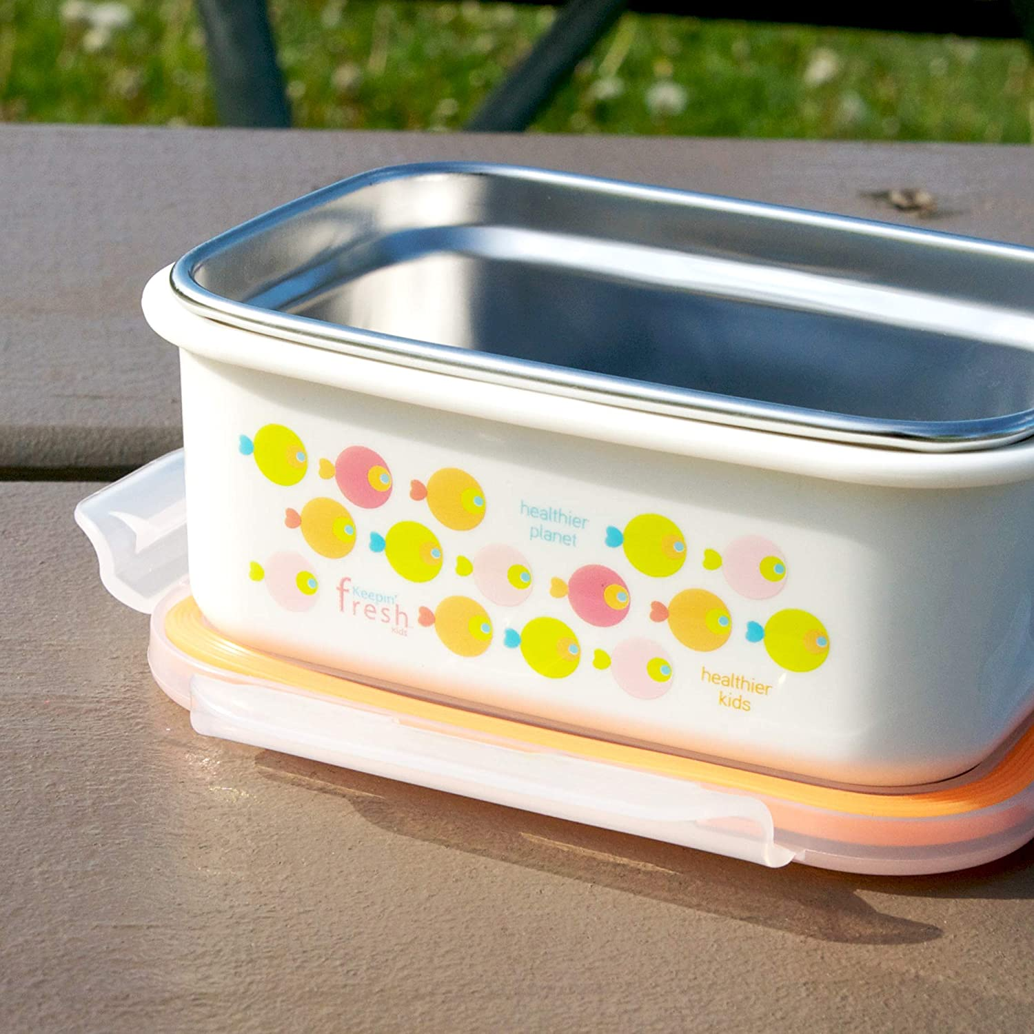 Innobaby Keepin Fresh Stainless Bento Snack or Lunch Box with Lid for Kids and Toddlers 15 oz, BPA Free...