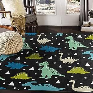 ALAZA Cartoon Hipster Dinosaur Polka Dot Area Rug Rugs for Living Room Bedroom 7' x 5'