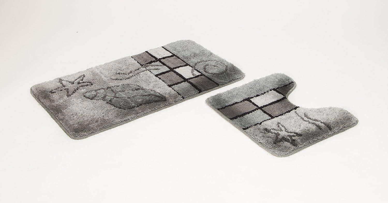 Set di 2 tappetini da bagno Hamburg, colore grigio, preformati Goodway