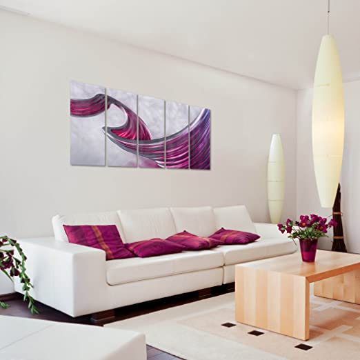 Pure Art Waves of Change, Amazing Purple/Pink Abstract Large Metal Wall Art, Colorful Shades etched on Silver background set of 5 Panels - Decorative Hanging Sculpture for your Home Measures 64 x 24