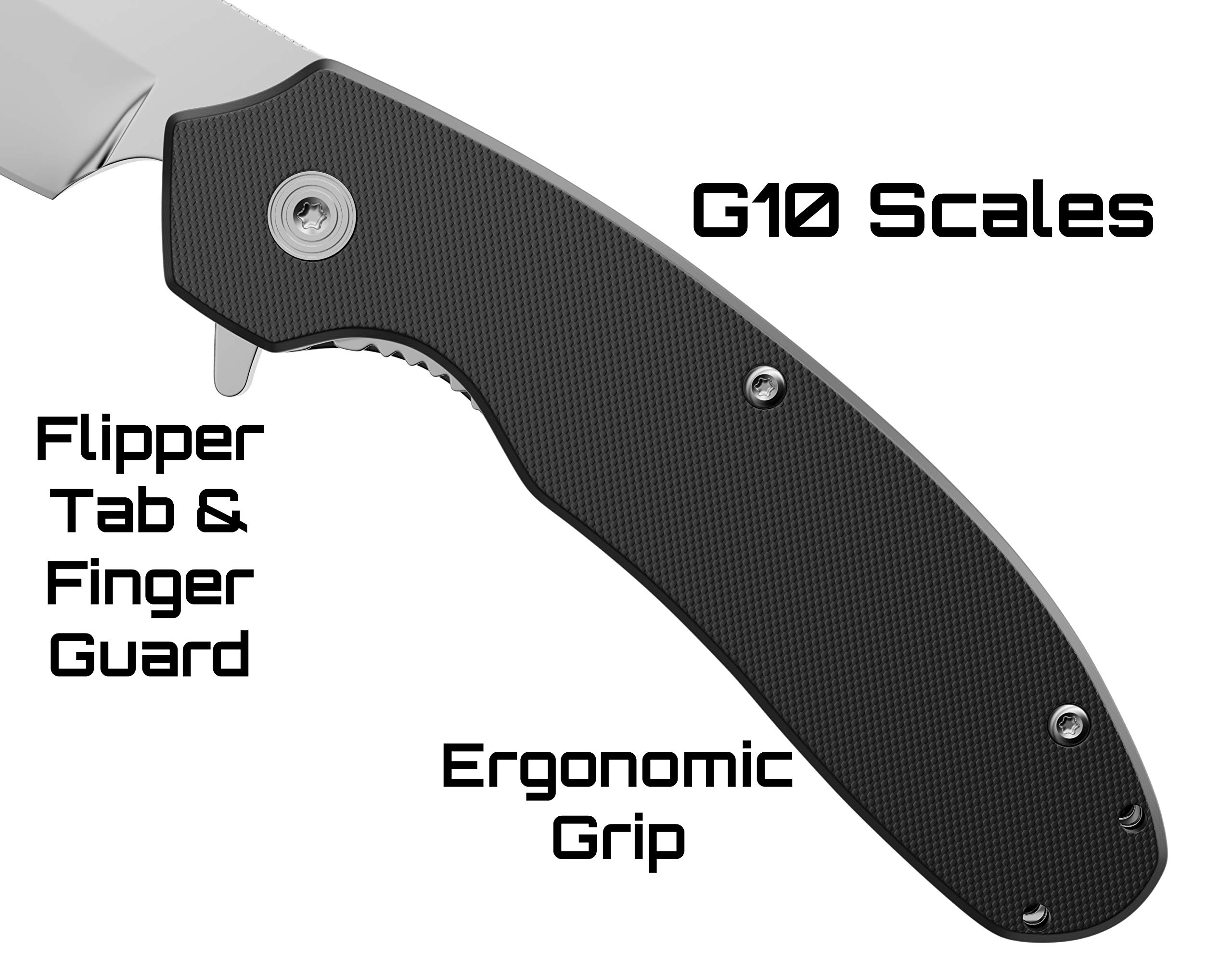 Off-Grid Knives - Cleaver Compact EDC Folding Knife, Satin Finish, Safety Grid-Lock Turns This Folder Into A Fixed Blade, Cryo AUS8 Blade Steel, G10 Handle & Tip-Up Reversible Deep Carry Pocket Clip by Off-Grid Knives (Image #5)