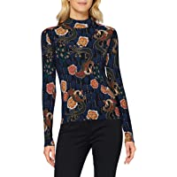 Scotch & Soda Women's Printed Long Sleeve tee with high Neck T-Shirt, Combo