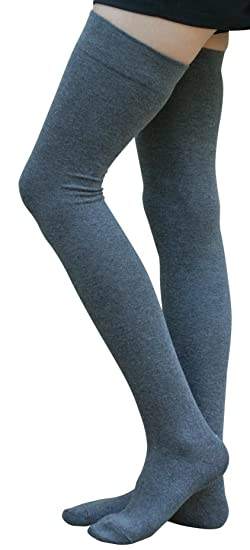 7d8f3532268 AM Landen Gray Cotton Thigh High Socks Over Knee Socks Women s Long Socks  (Small)