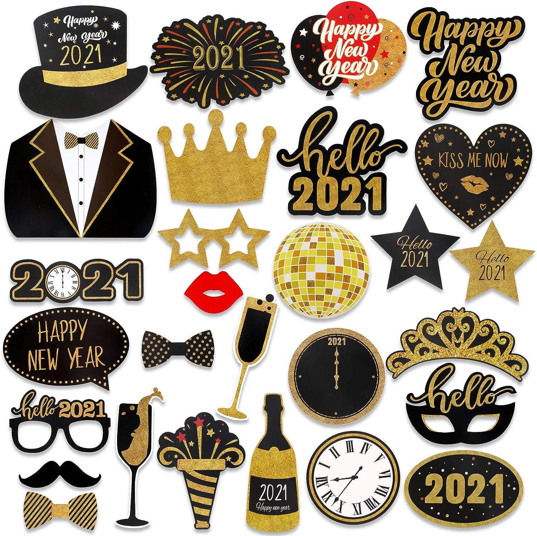 HOWAF 2021 Neujahr Fotorequisiten Fotoaccessoires Silvester Photo Booth Props Verkleidung Mitbringsel Maske Party Zubeh/ör f/ür Erwachsene Kinder Silvester Deko 2021 Silvester Party Dekoration 28Pcs