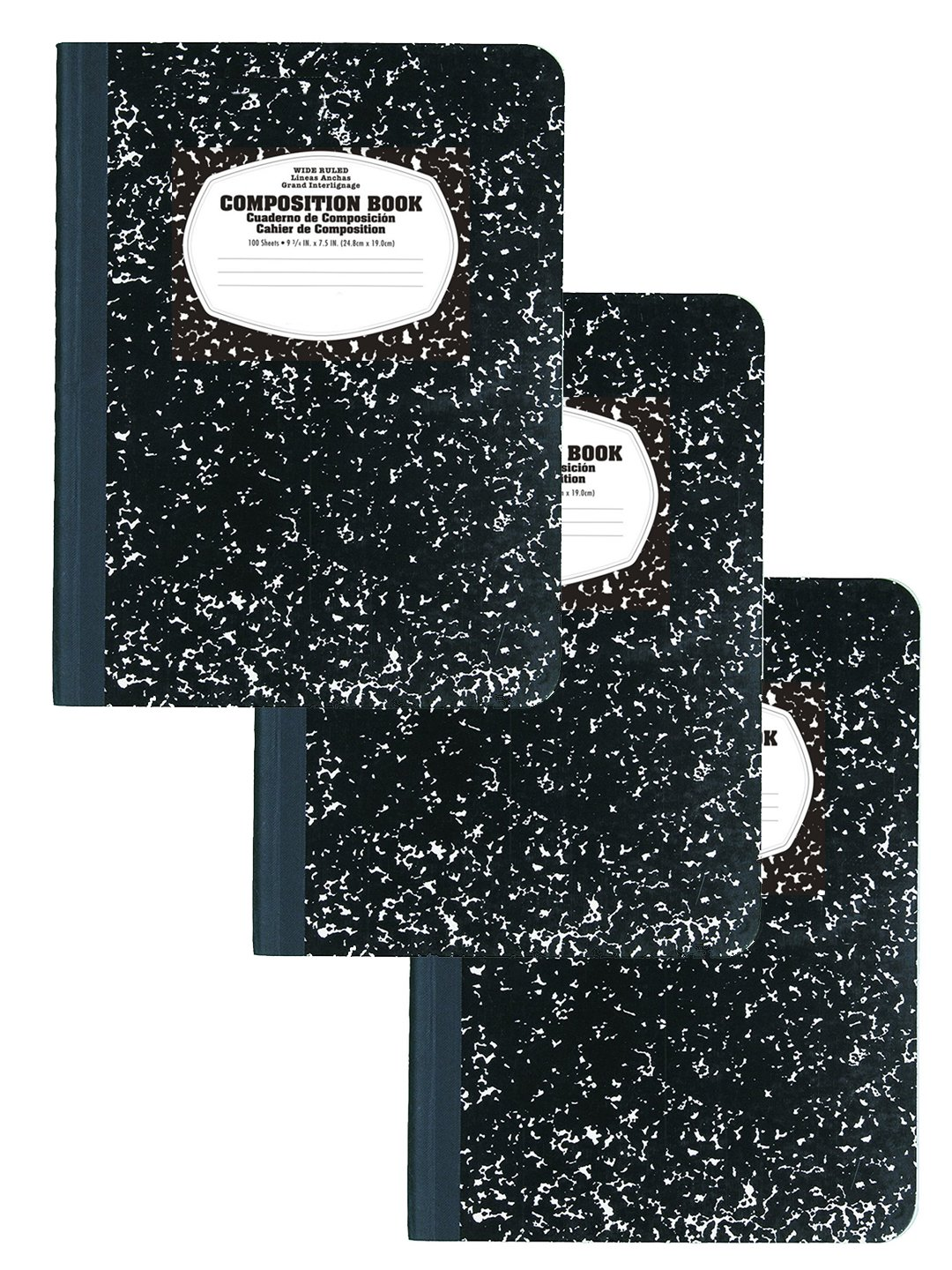 Composition Book / Notebook, Wide Ruled Paper, 100 Sheets, 9-3/4'' x 7-1/2'', (3 Pack)