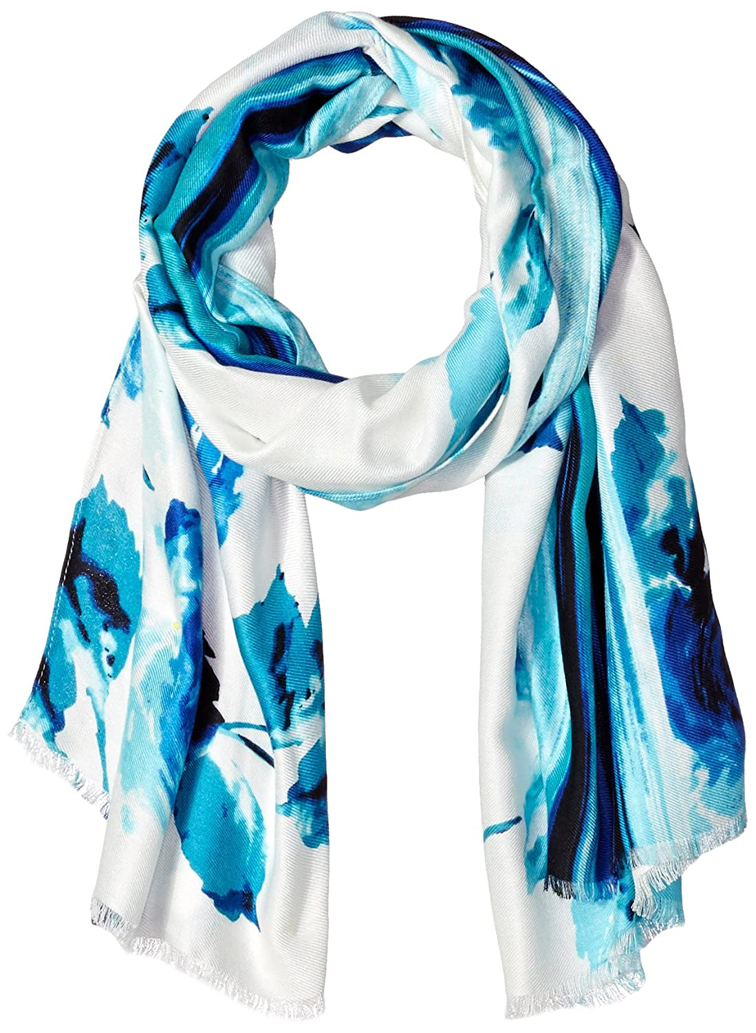 61812df16df55 La Fiorentina Women's Thin Polyester Scarf/Wrap with Lacy Trim ...
