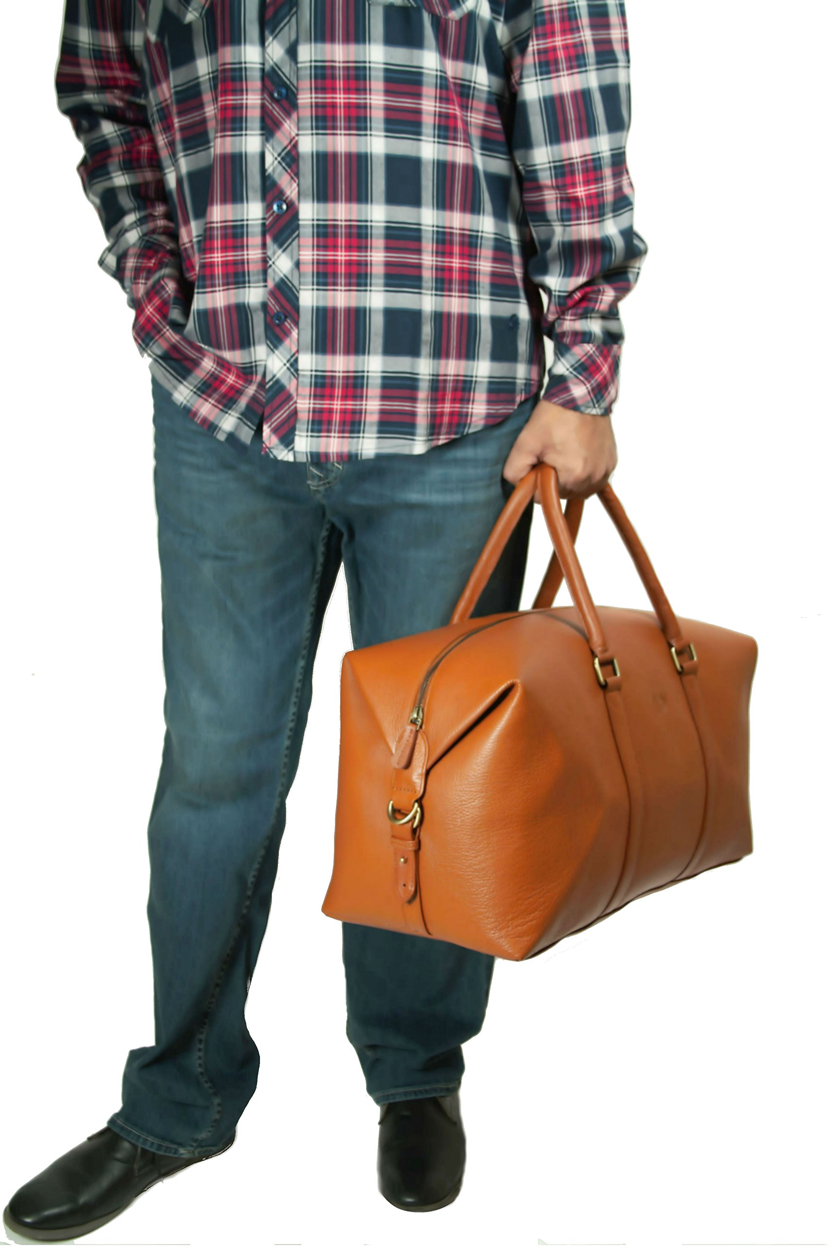 LeftOver Studio Expandable Weekend Overnight Travel Duffel Bag in Tan Top Grain Cow Leather by Leftover Studio (Image #5)