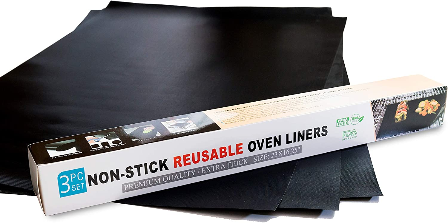Non-Stick Premium Quality Oven Liner (3- Pieces Set) | Easy To Clean Oven Liners For Bottom Of Electric oven | Heat Resistant Silicone Oven Liner | Reduce Spills and Stuck Food Oven Mat