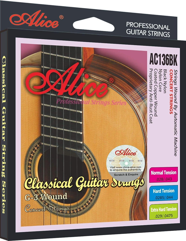 5 Sätze ALICE A107BK-H Gitarrensaiten Black Nylon1-3 Gold-plated Copper4-6